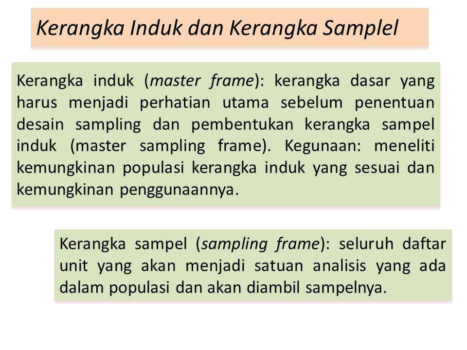 Kerangka induk (master frame): kerangka dasar yang harus menjadi perhatian utama sebelum penentuan desain sampling dan pembentukan kerangka sampel induk (master sampling frame).