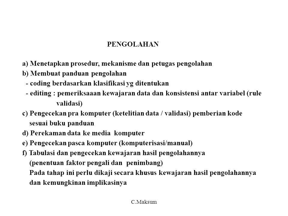 PENGOLAHAN a) Menetapkan prosedur, mekanisme dan petugas pengolahan b) Membuat panduan pengolahan - coding berdasarkan klasifikasi yg ditentukan - edi