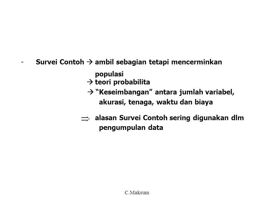 Disamping teknik sampling, beberapa hal yg dipertimbangkan sblm menentukan desain survei (oleh desainer survei) : - penentuan obyek + tujuan survei, variabel, konsep-definisi, pengukuran variabel, unit sampel, unit analisis dan hal lain yg terkait - cara mendapatkan informasi/data, pengolahan dan hal lain yg terkait - domain (tingkat) penyajian, analisis yg akan dilakukan - nonsampling error - penyajian dan diseminasi - pemanfaatan hasil survei Desainer sampel perlu memperhatikan lebih rinci ttg : - kerangka sampling, penentuan metode sampling dan metode estimasinya - identifikasi dan penentuan sampling unit, penarikan sampel dan daftar sampel - penentuan jumlah sampel berdasarkan presisi yg disepakati Kesepakatan desainer survei dan desainer sampel : - penentuan target populasi, unit sampel dan unit analisis - presisi, jumlah sampel, biaya - estimasi dan analisis statistik - penghitungan dan penyajian sampling error - non response, non coverage, penimbang, imputasi C.Maksum