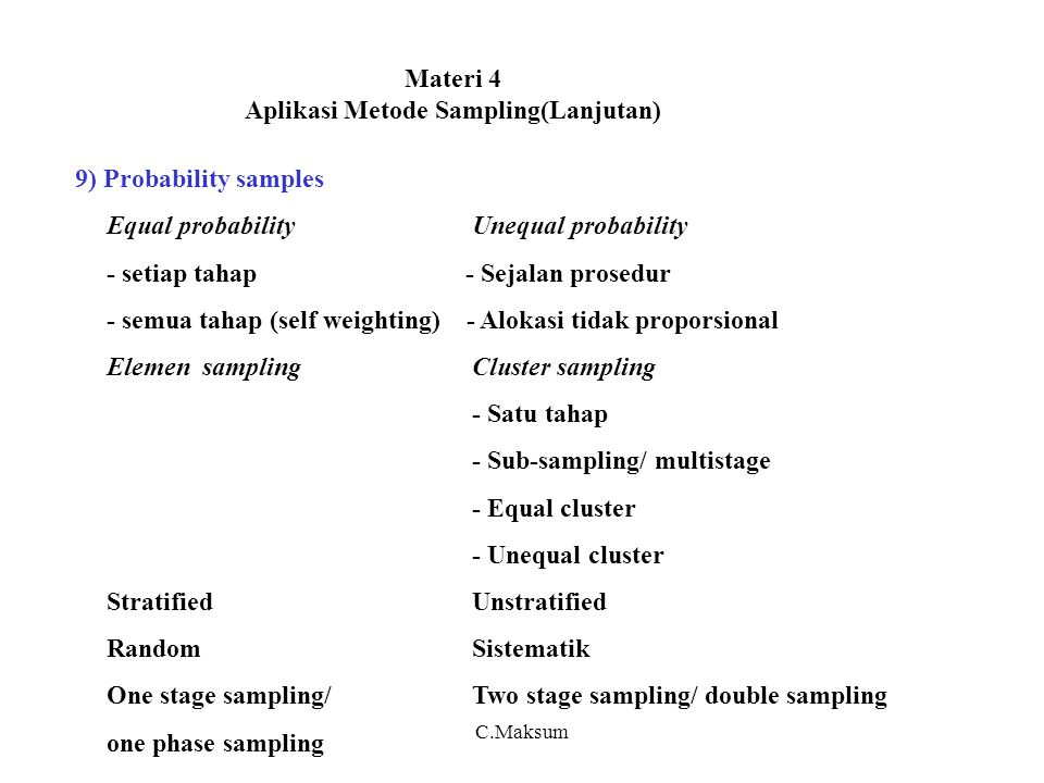Materi 4 Aplikasi Metode Sampling(Lanjutan) 9) Probability samples Equal probabilityUnequal probability - setiap tahap - Sejalan prosedur - semua tahap (self weighting) - Alokasi tidak proporsional Elemen samplingCluster sampling - Satu tahap - Sub-sampling/ multistage - Equal cluster - Unequal cluster StratifiedUnstratified RandomSistematik One stage sampling/Two stage sampling/ double sampling one phase sampling C.Maksum