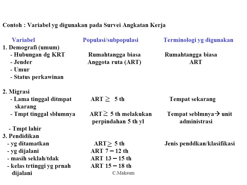 Contoh : Variabel yg digunakan pada Survei Angkatan Kerja Variabel Populasi/subpopulasi Terminologi yg digunakan 1. Demografi (umum) - Hubungan dg KRT