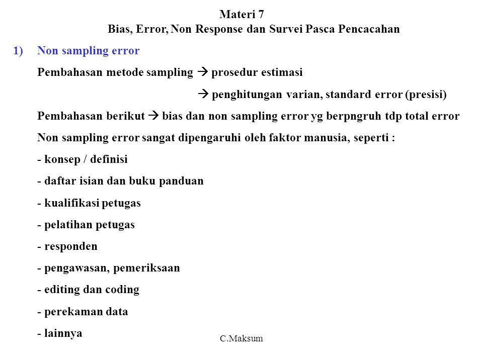 Materi 7 Bias, Error, Non Response dan Survei Pasca Pencacahan 1)Non sampling error Pembahasan metode sampling  prosedur estimasi  penghitungan vari