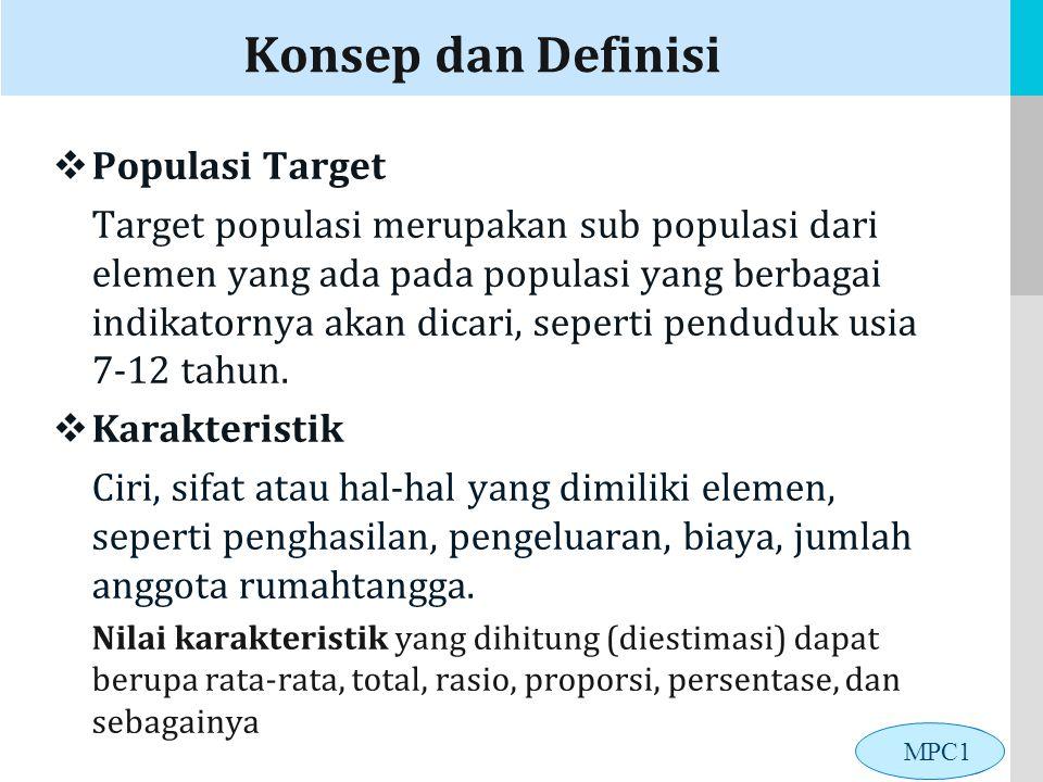 LOGO Konsep dan Definisi  Populasi Target Target populasi merupakan sub populasi dari elemen yang ada pada populasi yang berbagai indikatornya akan dicari, seperti penduduk usia 7-12 tahun.