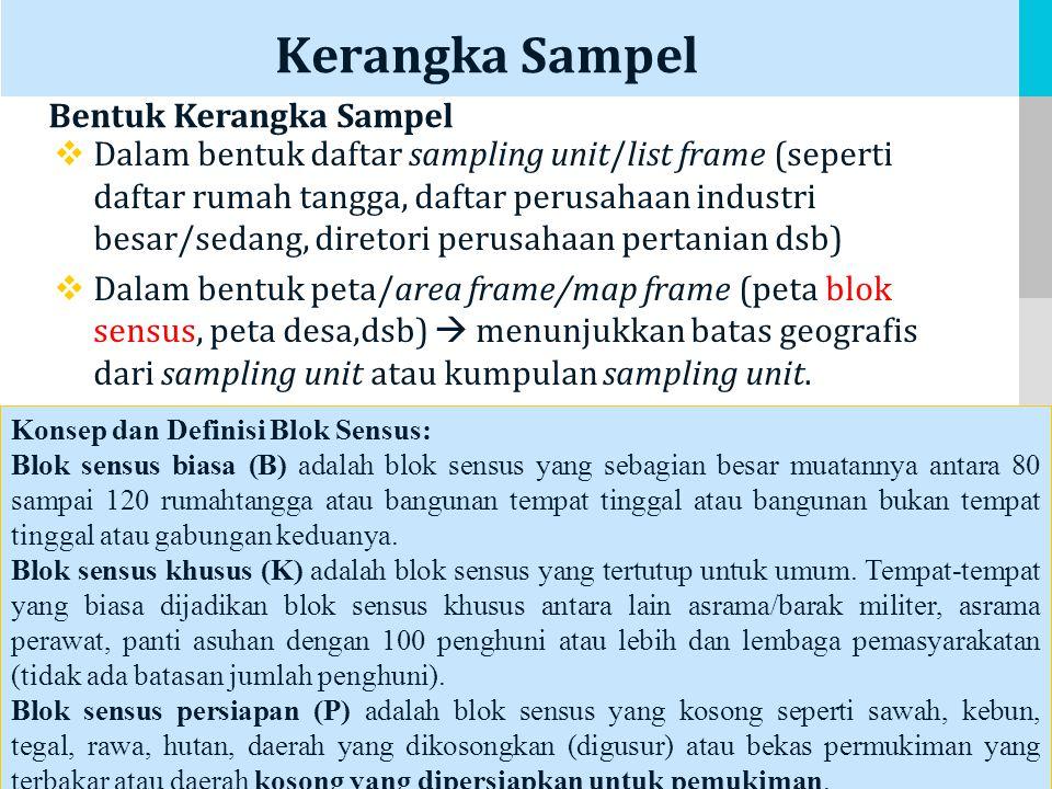 LOGO Kerangka Sampel  Dalam bentuk daftar sampling unit/list frame (seperti daftar rumah tangga, daftar perusahaan industri besar/sedang, diretori perusahaan pertanian dsb)  Dalam bentuk peta/area frame/map frame (peta blok sensus, peta desa,dsb)  menunjukkan batas geografis dari sampling unit atau kumpulan sampling unit.