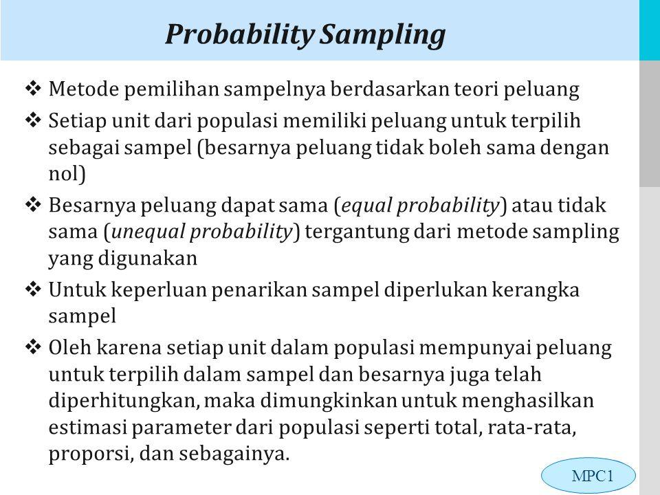 LOGO Probability Sampling  Metode pemilihan sampelnya berdasarkan teori peluang  Setiap unit dari populasi memiliki peluang untuk terpilih sebagai sampel (besarnya peluang tidak boleh sama dengan nol)  Besarnya peluang dapat sama (equal probability) atau tidak sama (unequal probability) tergantung dari metode sampling yang digunakan  Untuk keperluan penarikan sampel diperlukan kerangka sampel  Oleh karena setiap unit dalam populasi mempunyai peluang untuk terpilih dalam sampel dan besarnya juga telah diperhitungkan, maka dimungkinkan untuk menghasilkan estimasi parameter dari populasi seperti total, rata-rata, proporsi, dan sebagainya.