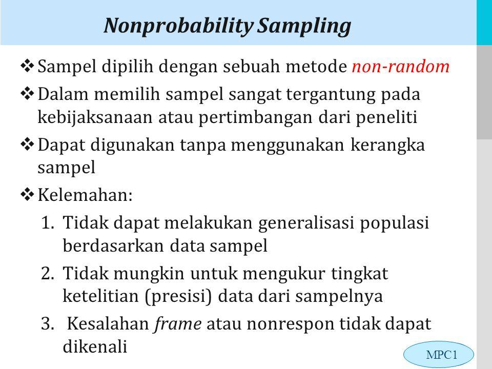 LOGO Nonprobability Sampling  Sampel dipilih dengan sebuah metode non-random  Dalam memilih sampel sangat tergantung pada kebijaksanaan atau pertimbangan dari peneliti  Dapat digunakan tanpa menggunakan kerangka sampel  Kelemahan: 1.Tidak dapat melakukan generalisasi populasi berdasarkan data sampel 2.Tidak mungkin untuk mengukur tingkat ketelitian (presisi) data dari sampelnya 3.