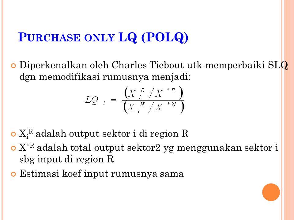 P URCHASE ONLY LQ (POLQ) Diperkenalkan oleh Charles Tiebout utk memperbaiki SLQ dgn memodifikasi rumusnya menjadi: X i R adalah output sektor i di region R X *R adalah total output sektor2 yg menggunakan sektor i sbg input di region R Estimasi koef input rumusnya sama