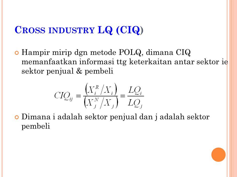 C ROSS INDUSTRY LQ (CIQ) Hampir mirip dgn metode POLQ, dimana CIQ memanfaatkan informasi ttg keterkaitan antar sektor ie sektor penjual & pembeli Dimana i adalah sektor penjual dan j adalah sektor pembeli