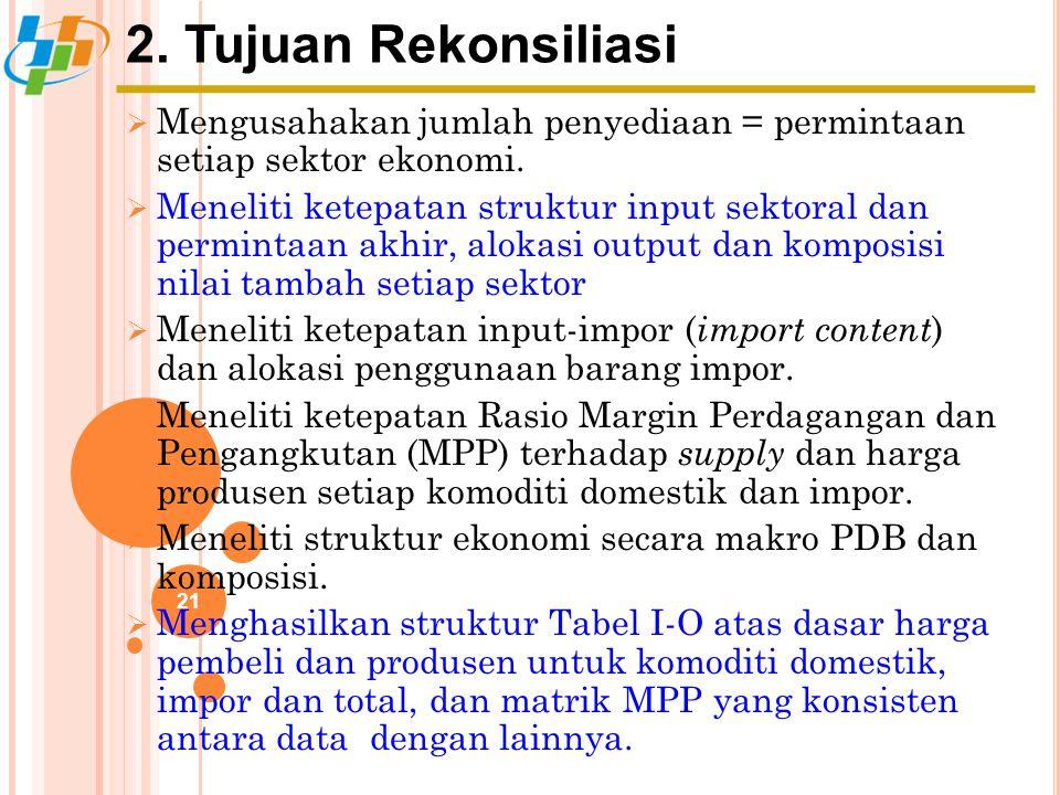 2. Tujuan Rekonsiliasi 21  Mengusahakan jumlah penyediaan = permintaan setiap sektor ekonomi.  Meneliti ketepatan struktur input sektoral dan permin