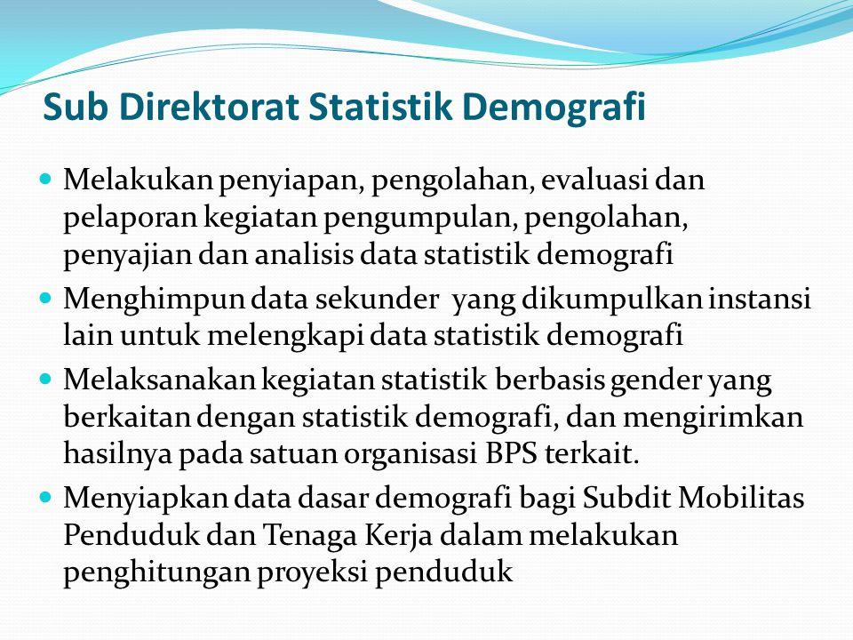 Sub Direktorat Statistik Demografi Melakukan penyiapan, pengolahan, evaluasi dan pelaporan kegiatan pengumpulan, pengolahan, penyajian dan analisis data statistik demografi Menghimpun data sekunder yang dikumpulkan instansi lain untuk melengkapi data statistik demografi Melaksanakan kegiatan statistik berbasis gender yang berkaitan dengan statistik demografi, dan mengirimkan hasilnya pada satuan organisasi BPS terkait.