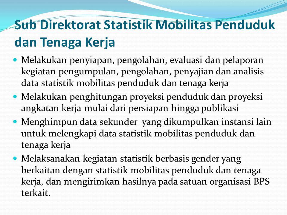 Sensus dan Survei yang dilaksanakan Subdit Statistik Demografi Sensus Penduduk (SP) Survei Penduduk Antar Sensus (SUPAS) Survei Demografi dan Kesehatan Indonesia (SDKI) Subdit Statistik Ketenagakerjaan Survei Angkatan Kerja Nasional (Sakernas) Subdit Statistik Upah dan Pendapatan Survei Upah Buruh (SUB) Survei Struktur Upah (SSU) Subdit Statistik Mobilitas Penduduk dan Tenaga Kerja Survei Komuter (pilot)