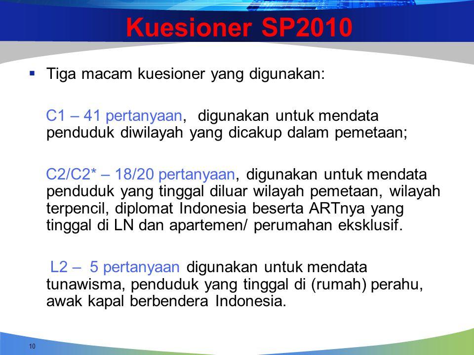 Kuesioner SP2010  Tiga macam kuesioner yang digunakan: C1 – 41 pertanyaan, digunakan untuk mendata penduduk diwilayah yang dicakup dalam pemetaan; C2
