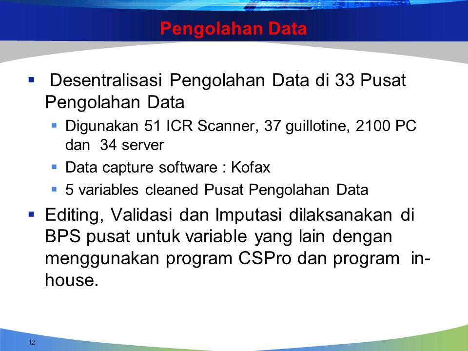 Pengolahan Data  Desentralisasi Pengolahan Data di 33 Pusat Pengolahan Data  Digunakan 51 ICR Scanner, 37 guillotine, 2100 PC dan 34 server  Data c