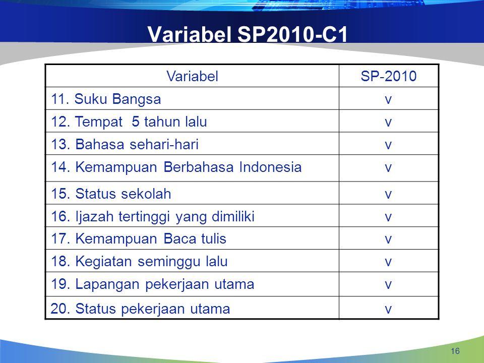 16 VariabelSP-2010 11. Suku Bangsav 12. Tempat 5 tahun laluv 13. Bahasa sehari-hariv 14. Kemampuan Berbahasa Indonesiav 15. Status sekolahv 16. Ijazah