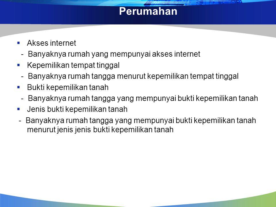 Perumahan  Akses internet - Banyaknya rumah yang mempunyai akses internet  Kepemilikan tempat tinggal - Banyaknya rumah tangga menurut kepemilikan t