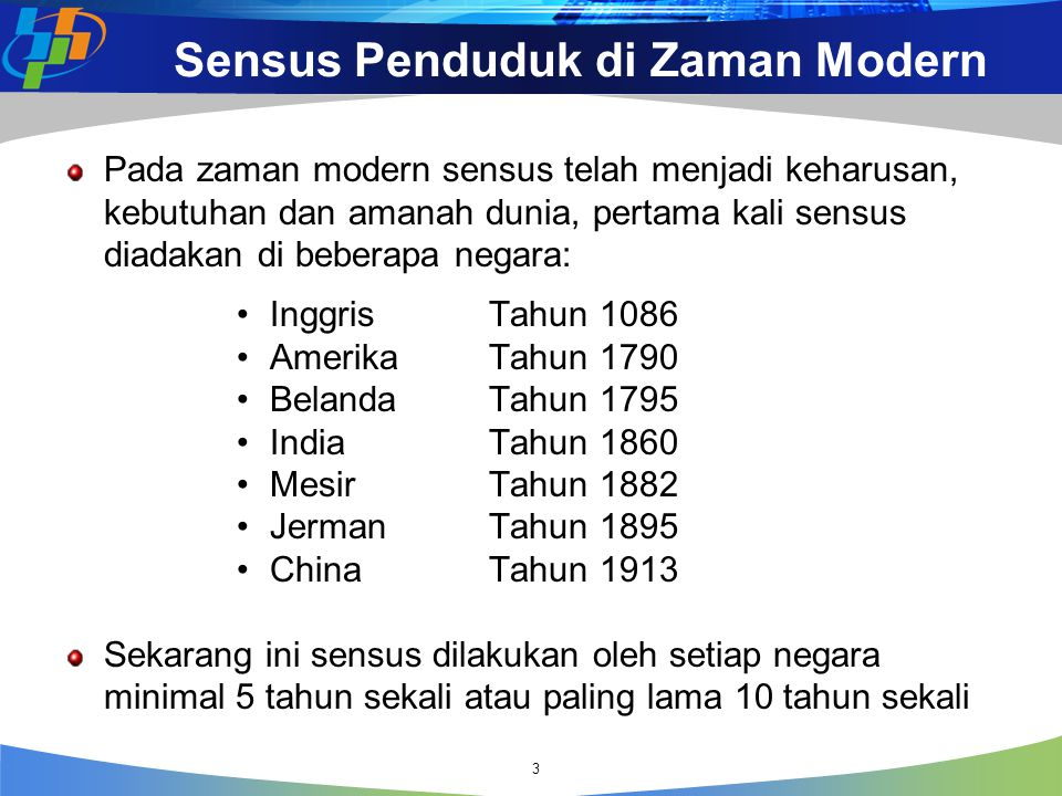 Sensus Penduduk di Zaman Modern Pada zaman modern sensus telah menjadi keharusan, kebutuhan dan amanah dunia, pertama kali sensus diadakan di beberapa
