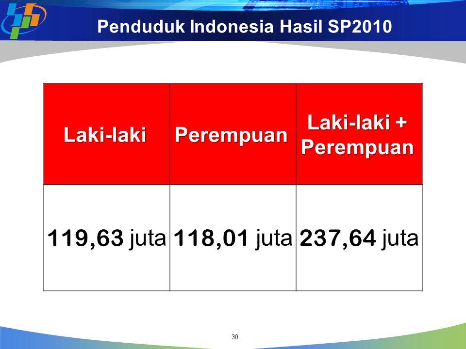 Penduduk Indonesia Hasil SP2010 Laki-lakiPerempuan Laki-laki + Perempuan 119,63 juta 118,01 juta 237,64 juta 30