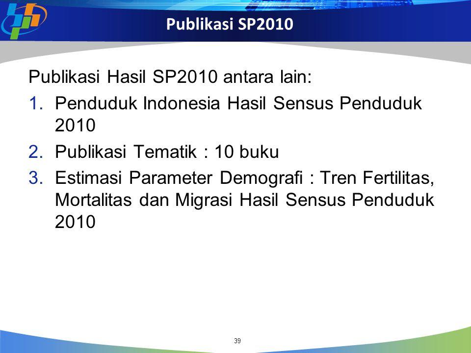 Publikasi SP2010 39 Publikasi Hasil SP2010 antara lain: 1.Penduduk Indonesia Hasil Sensus Penduduk 2010 2.Publikasi Tematik : 10 buku 3.Estimasi Param