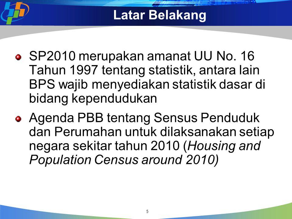 Urgensi SP2010 Memperbarui data dasar kependudukan termasuk parameter-parameter demografi 1 Sebagai basis utama proyeksi penduduk dekade 2010–2020 2 Memantau kinerja pencapaian tujuan MDGs (the Millenium Development Goals) sampai wilayah administrasi terkecil 3 Sebagai sumber data untuk Program Targetting (Beasiswa, Lansia, Bantuan sosial, perumahan, Kecacatan, dll.) 4 Data dasar (baseline) bagi semua kementerian/ instansi dalam menetapkan program dan target ke depan 5 6