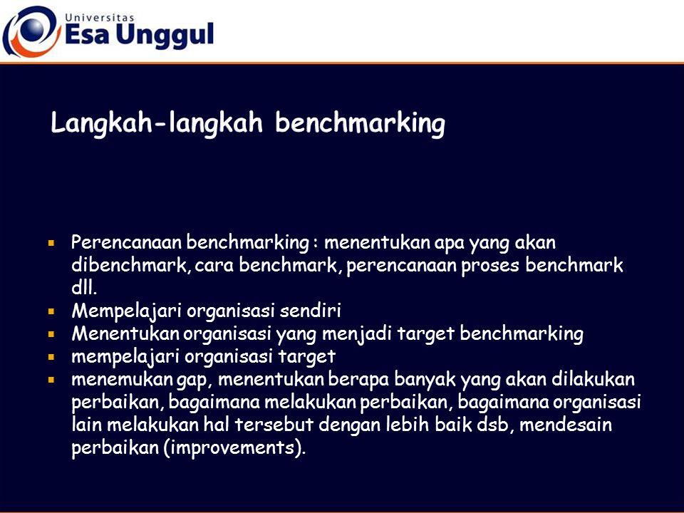  Perencanaan benchmarking : menentukan apa yang akan dibenchmark, cara benchmark, perencanaan proses benchmark dll.  Mempelajari organisasi sendiri