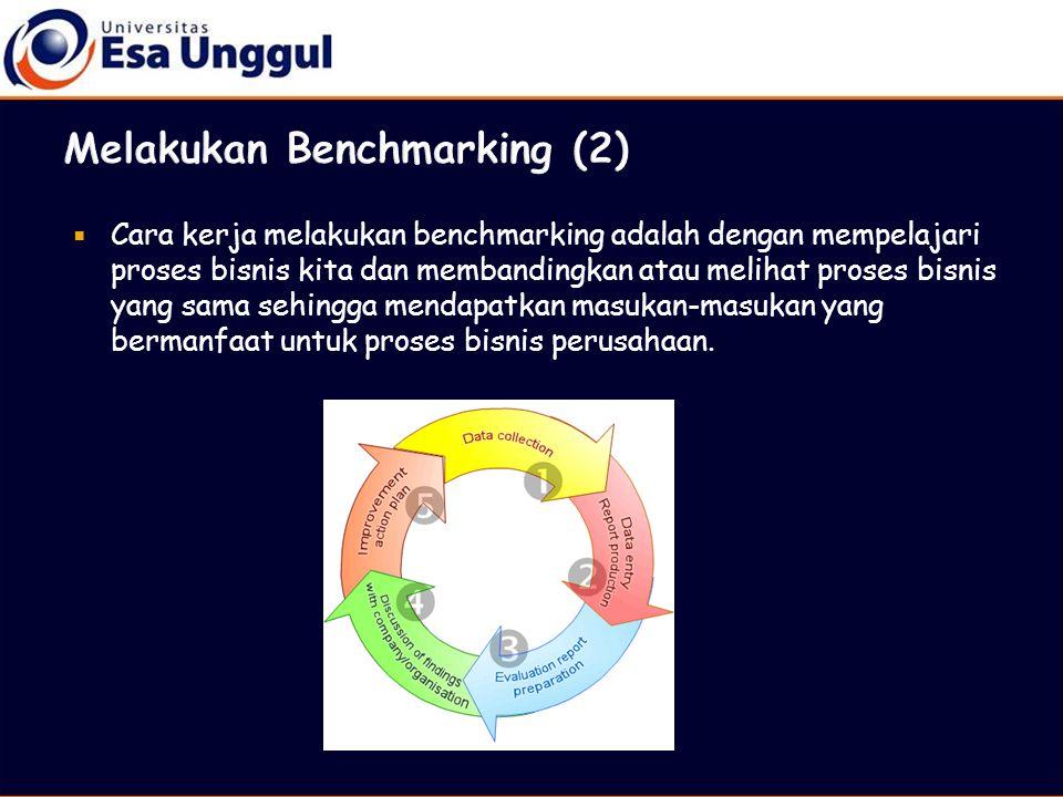  Cara kerja melakukan benchmarking adalah dengan mempelajari proses bisnis kita dan membandingkan atau melihat proses bisnis yang sama sehingga menda