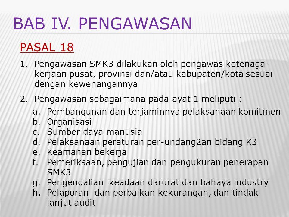 BAB IV. PENGAWASAN PASAL 18 1.Pengawasan SMK3 dilakukan oleh pengawas ketenaga- kerjaan pusat, provinsi dan/atau kabupaten/kota sesuai dengan kewenang