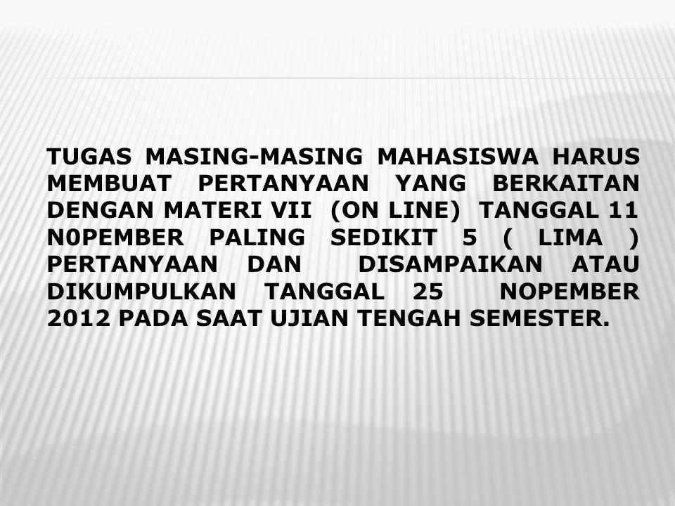 TUGAS MASING-MASING MAHASISWA HARUS MEMBUAT PERTANYAAN YANG BERKAITAN DENGAN MATERI VII (ON LINE) TANGGAL 11 N0PEMBER PALING SEDIKIT 5 ( LIMA ) PERTAN