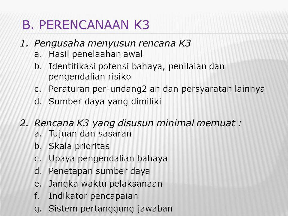 1.Pengusaha menyusun rencana K3 a.Hasil penelaahan awal b.Identifikasi potensi bahaya, penilaian dan pengendalian risiko c.Peraturan per-undang2 an da