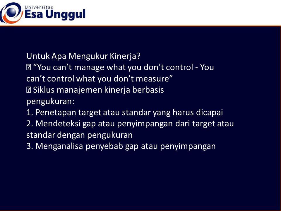 """Untuk Apa Mengukur Kinerja? """"You can't manage what you don't control - You can't control what you don't measure"""" Siklus manajemen kinerja berbasis pen"""