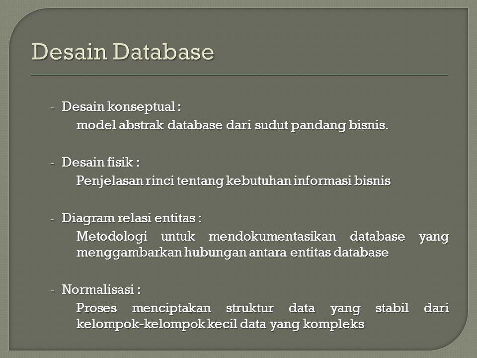 - Desain konseptual : model abstrak database dari sudut pandang bisnis.