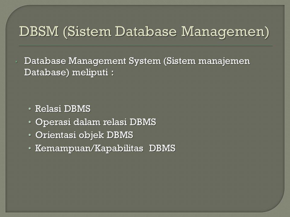 Database Management System (Sistem manajemen Database) meliputi : Database Management System (Sistem manajemen Database) meliputi : Relasi DBMS Relasi DBMS Operasi dalam relasi DBMS Operasi dalam relasi DBMS Orientasi objek DBMS Orientasi objek DBMS Kemampuan/Kapabilitas DBMS Kemampuan/Kapabilitas DBMS