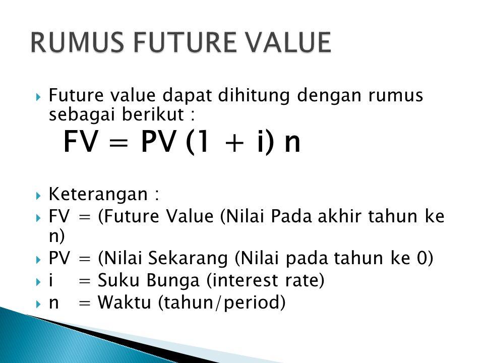  Future value dapat dihitung dengan rumus sebagai berikut : FV = PV (1 + i) n  Keterangan :  FV= (Future Value (Nilai Pada akhir tahun ke n)  PV = (Nilai Sekarang (Nilai pada tahun ke 0)  i = Suku Bunga (interest rate)  n = Waktu (tahun/period)