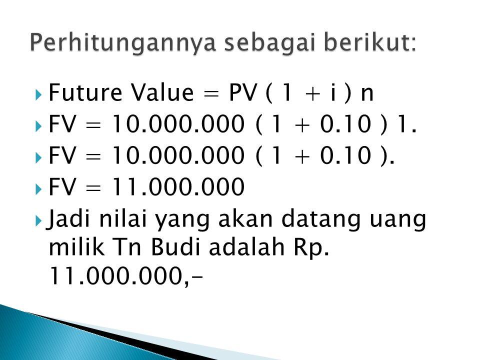  Future Value = PV ( 1 + i ) n  FV = 10.000.000 ( 1 + 0.10 ) 1.