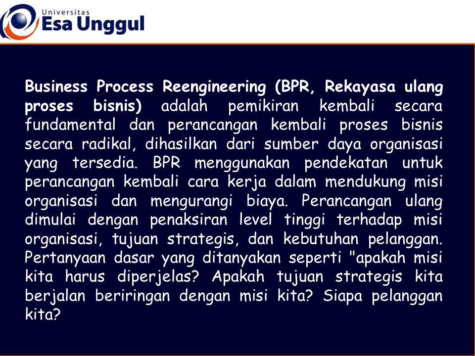 Business Process Reengineering (BPR, Rekayasa ulang proses bisnis) adalah pemikiran kembali secara fundamental dan perancangan kembali proses bisnis s