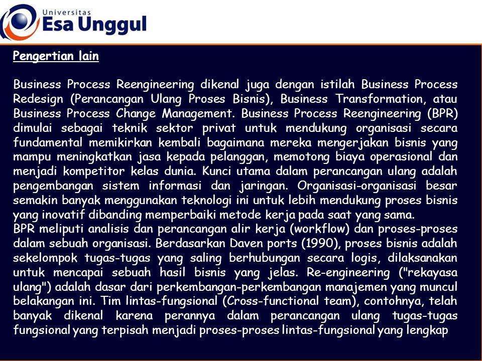 Pengertian lain Business Process Reengineering dikenal juga dengan istilah Business Process Redesign (Perancangan Ulang Proses Bisnis), Business Trans