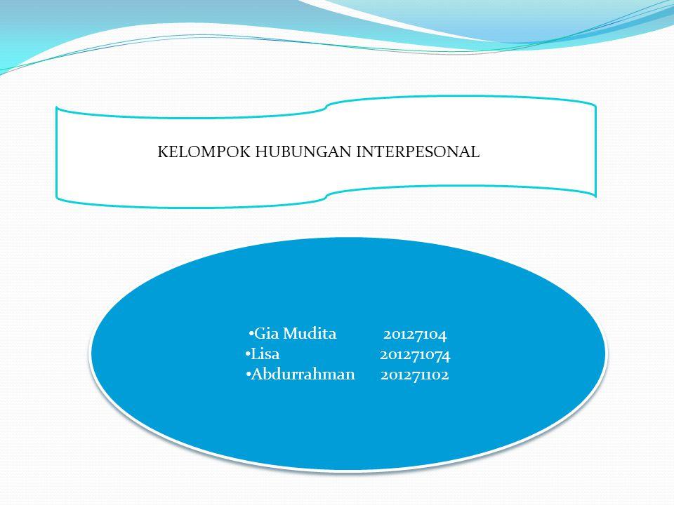 KELOMPOK HUBUNGAN INTERPESONAL Gia Mudita 20127104 Lisa201271074 Abdurrahman201271102 Gia Mudita 20127104 Lisa201271074 Abdurrahman201271102