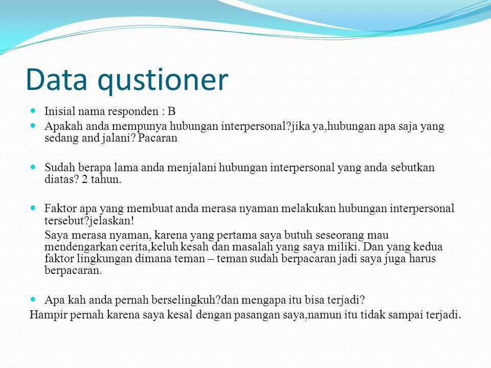 Data qustioner Inisial nama responden : B Apakah anda mempunya hubungan interpersonal jika ya,hubungan apa saja yang sedang and jalani.