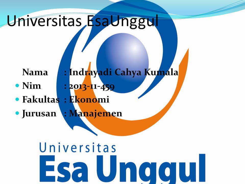 Universitas EsaUnggul Nama: Indrayadi Cahya Kumala Nim: 2013-11-459 Fakultas: Ekonomi Jurusan: Manajemen