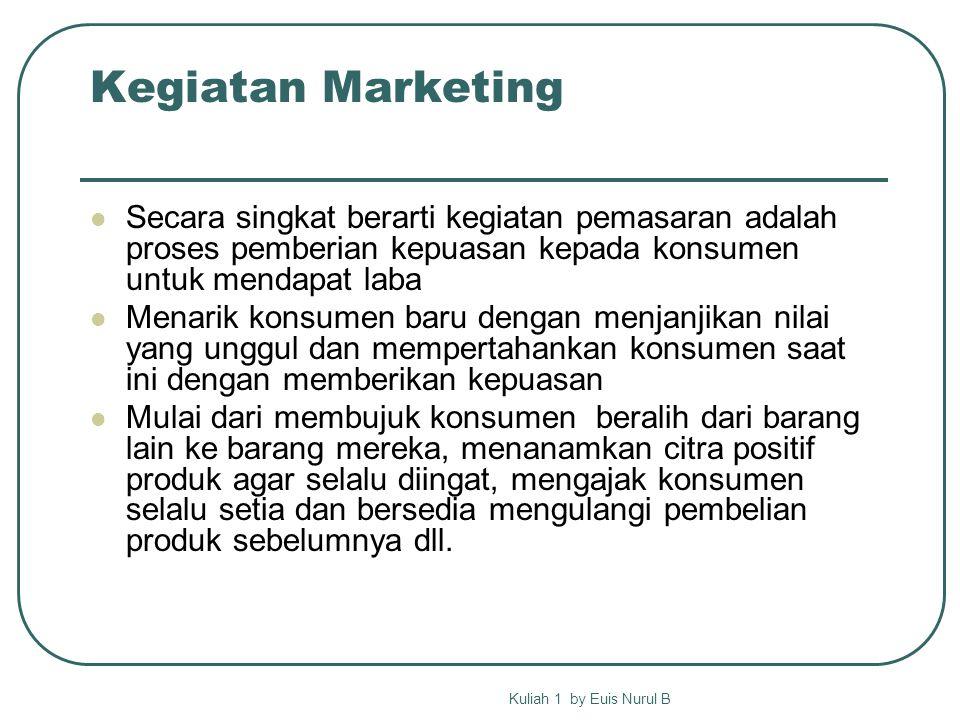 Marketing Umbrella Pengertian marketing dibangun dari konsep2 berikut Kuliah 1 by Euis Nurul B brand Marketing concept Marketing mix product Marketing process exchange market Competitive advantage