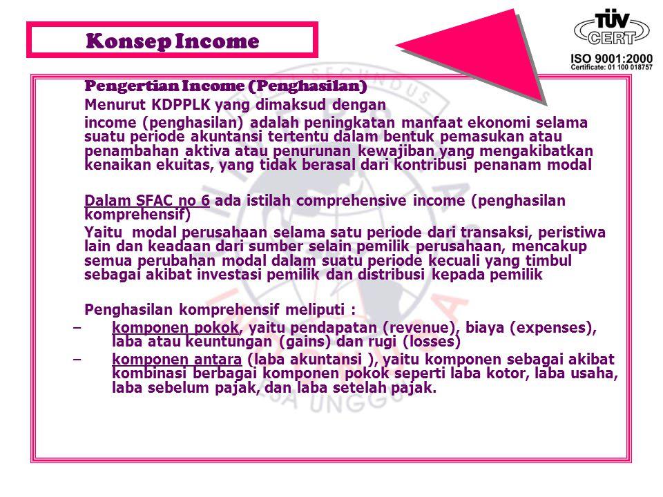 Konsep Income Pengertian Income (Penghasilan) Menurut KDPPLK yang dimaksud dengan income (penghasilan) adalah peningkatan manfaat ekonomi selama suatu