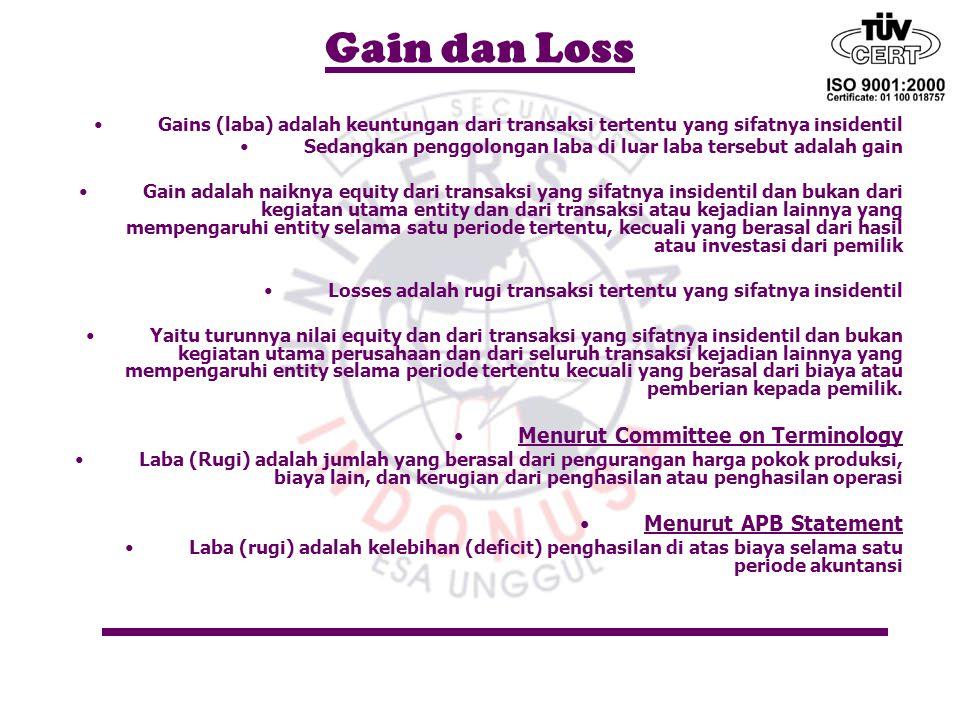 Gain dan Loss Gains (laba) adalah keuntungan dari transaksi tertentu yang sifatnya insidentil Sedangkan penggolongan laba di luar laba tersebut adalah