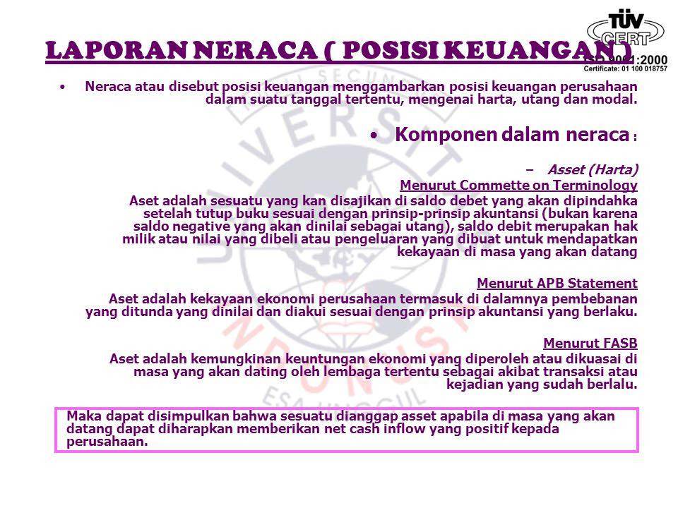 LAPORAN NERACA ( POSISI KEUANGAN ) Neraca atau disebut posisi keuangan menggambarkan posisi keuangan perusahaan dalam suatu tanggal tertentu, mengenai