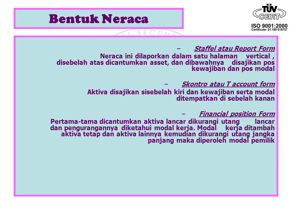 Bentuk Neraca –Staffel atau Report Form Neraca ini dilaporkan dalam satu halaman vertical, disebelah atas dicantumkan asset, dan dibawahnya disajikan