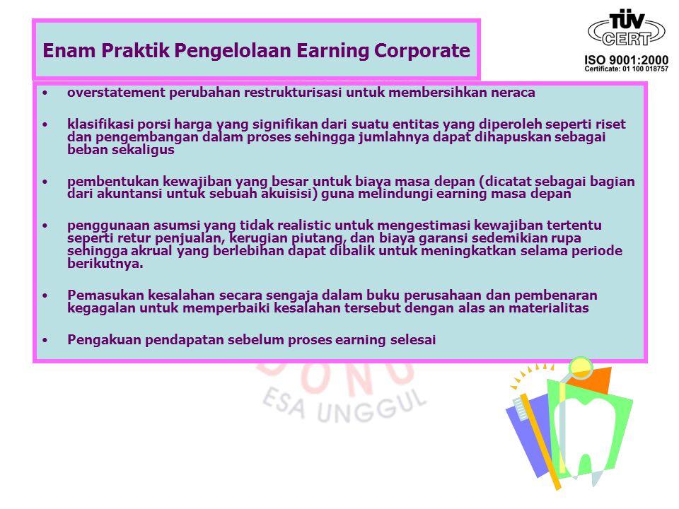 Enam Praktik Pengelolaan Earning Corporate overstatement perubahan restrukturisasi untuk membersihkan neraca klasifikasi porsi harga yang signifikan d