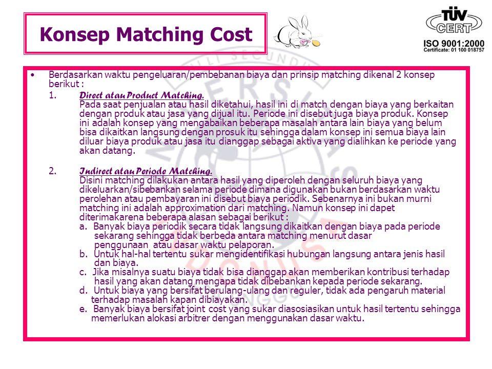 Konsep Matching Cost Berdasarkan waktu pengeluaran/pembebanan biaya dan prinsip matching dikenal 2 konsep berikut : 1. Direct atau Product Matching. P