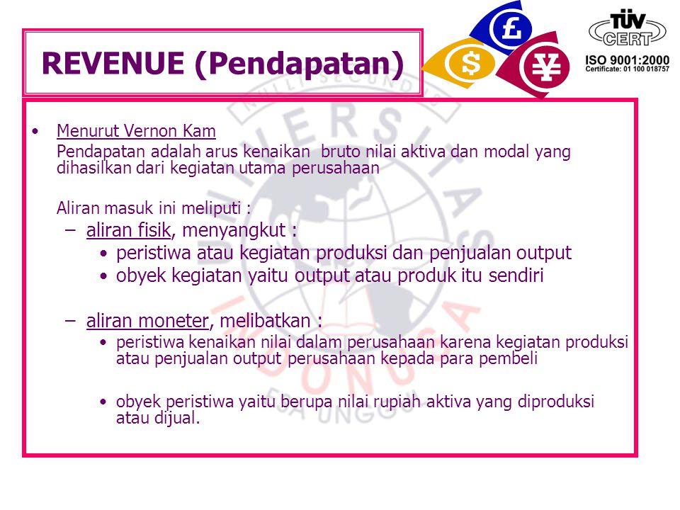 REVENUE (Pendapatan) Menurut Vernon Kam Pendapatan adalah arus kenaikan bruto nilai aktiva dan modal yang dihasilkan dari kegiatan utama perusahaan Al
