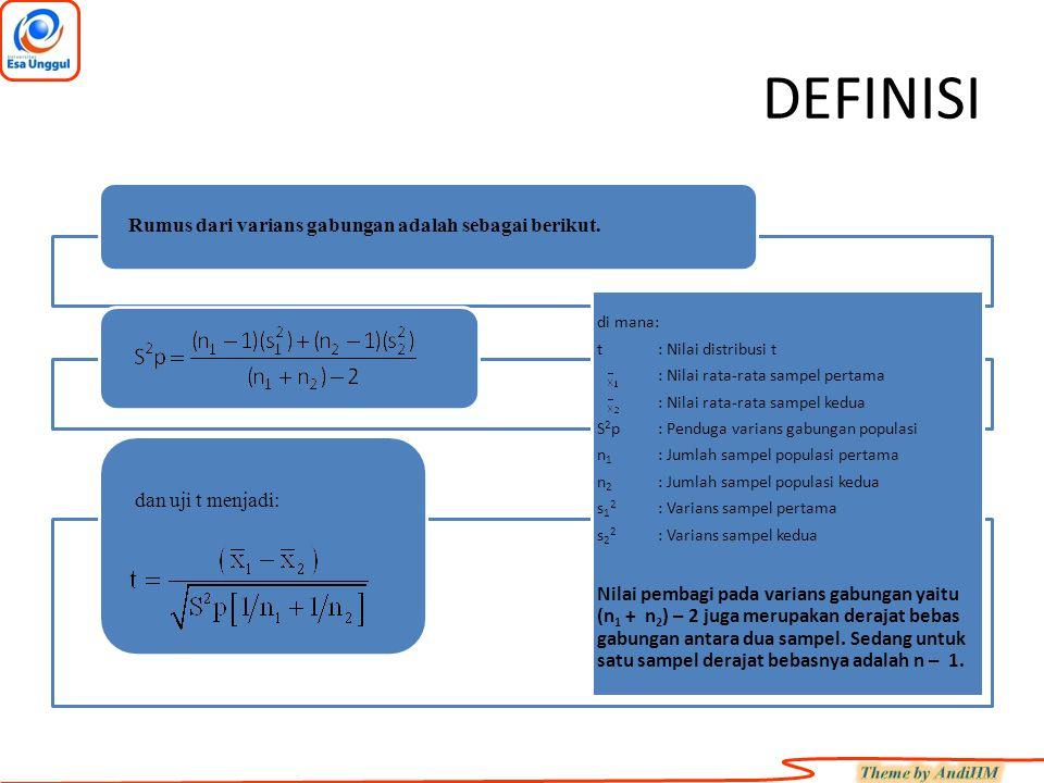DEFINISI Rumus dari varians gabungan adalah sebagai berikut. dan uji t menjadi: di mana: t: Nilai distribusi t : Nilai rata-rata sampel pertama : Nila