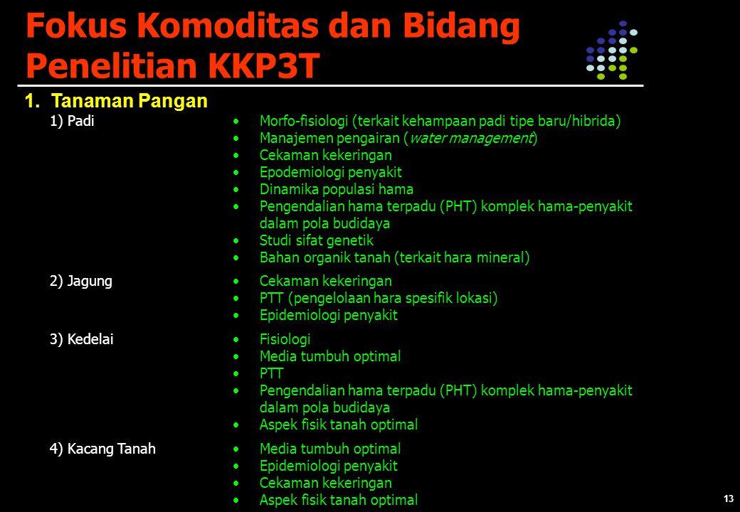 13 Fokus Komoditas dan Bidang Penelitian KKP3T 1.