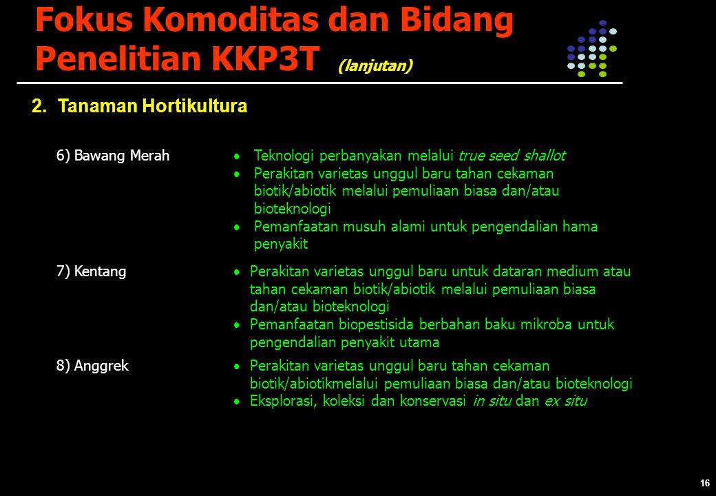 16 Fokus Komoditas dan Bidang Penelitian KKP3T 2.