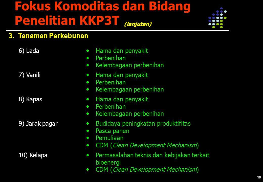 18 Fokus Komoditas dan Bidang Penelitian KKP3T 3.